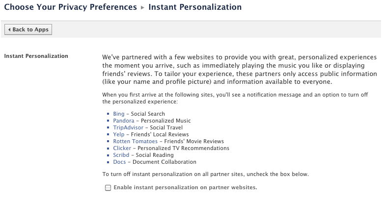 Facebook Instant Personalization settings