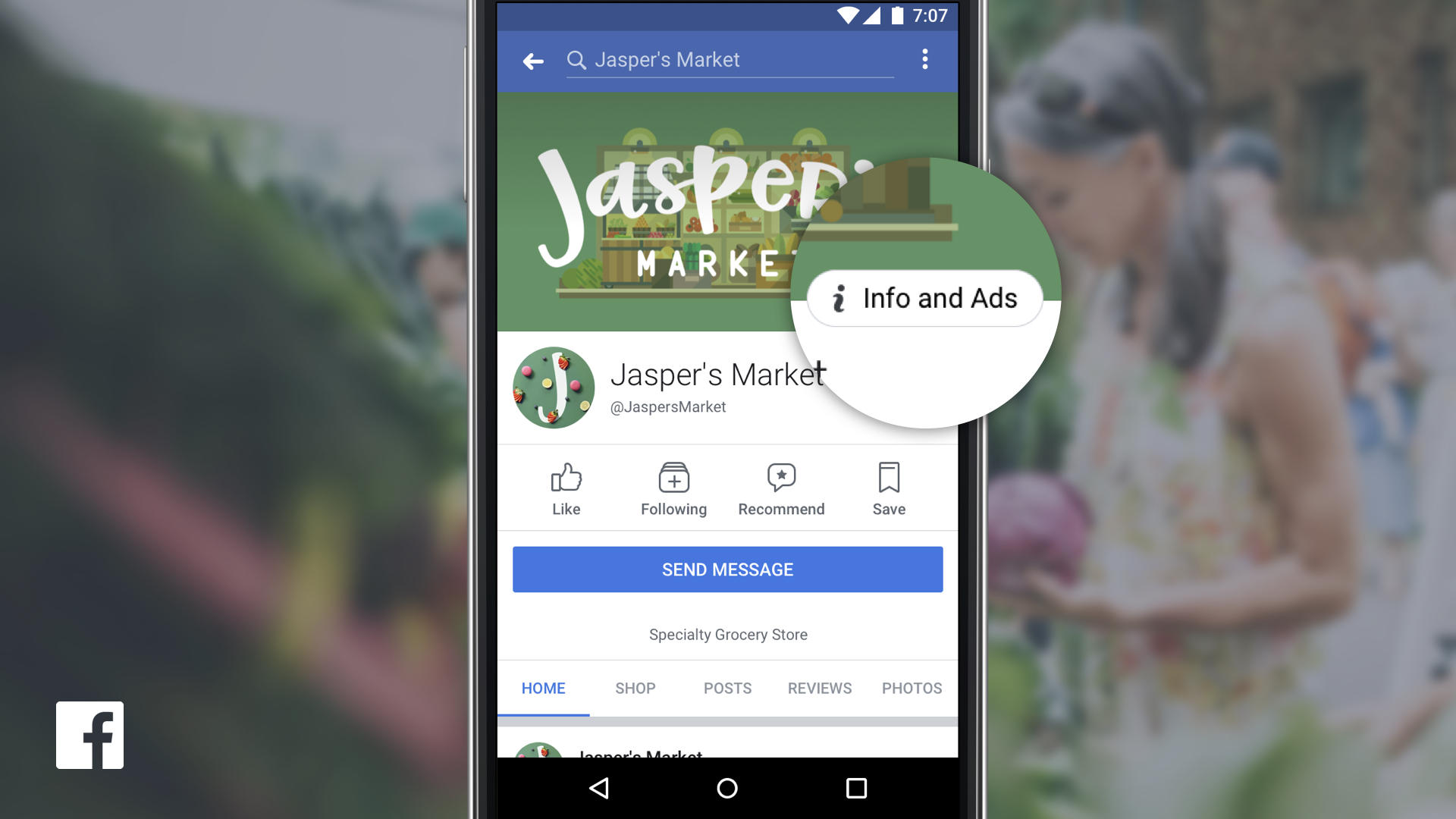 """View of Facebook on a smartphone showing a page for Jasper's Market, highlighting """"info and ads."""""""