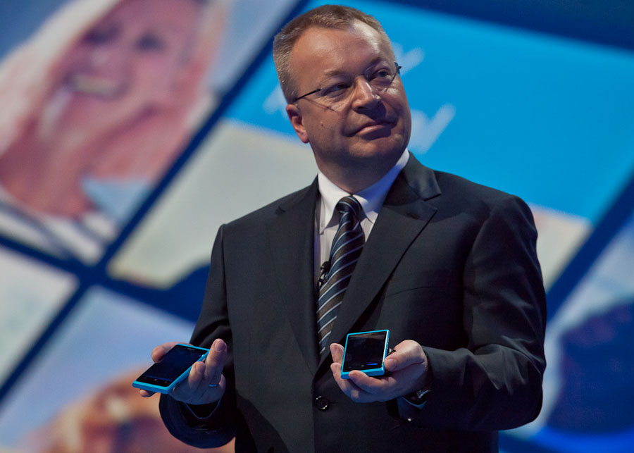 Nokia CEO Stephen Elop shows off his company's new Windows Phone products at Nokia World in London.