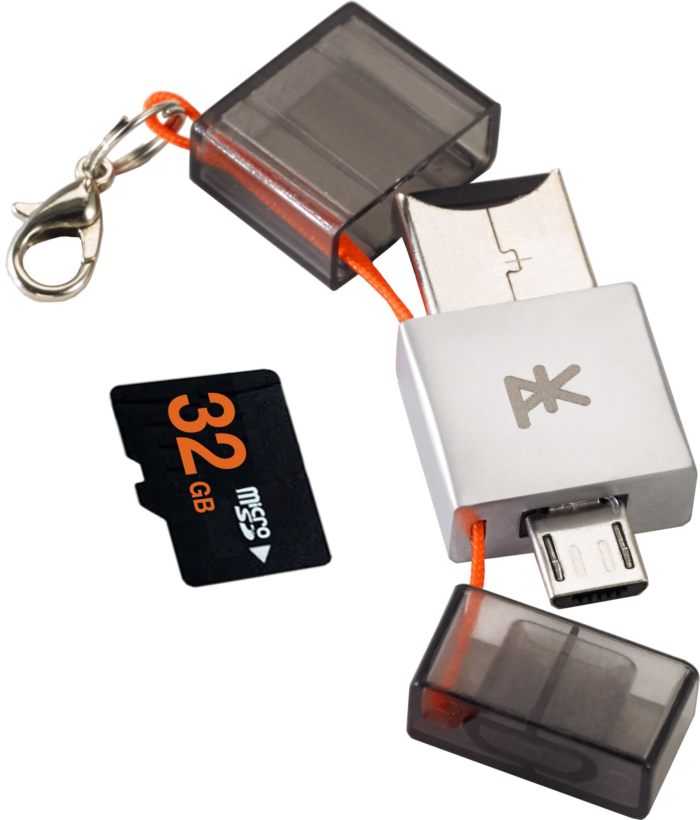 The PKparis K'2 has 16GB of storage, a USB connector, a Micro-USB connector, and a microSD slot.