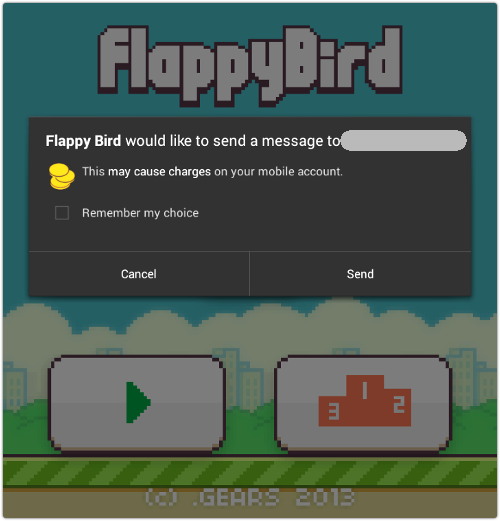 A look at a fake Flappy Bird, courtesy of Sophos.