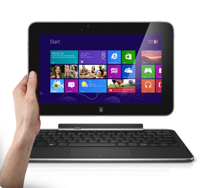 Dell's XPS 10 Windows RT tablet shown with keyboard dock.