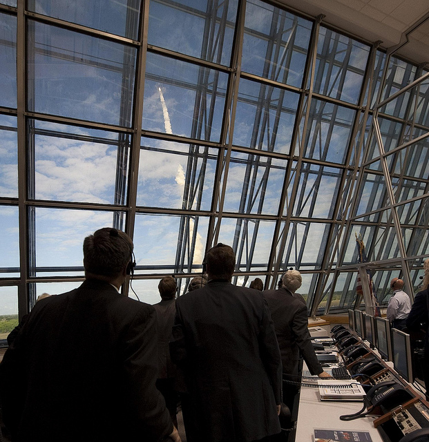 NASA mission managers monitor the launch