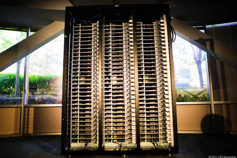 A three-column custom-built Facebook server rack. The social network is open-sourcing the specs of its server and data center design with the Open Compute Project.