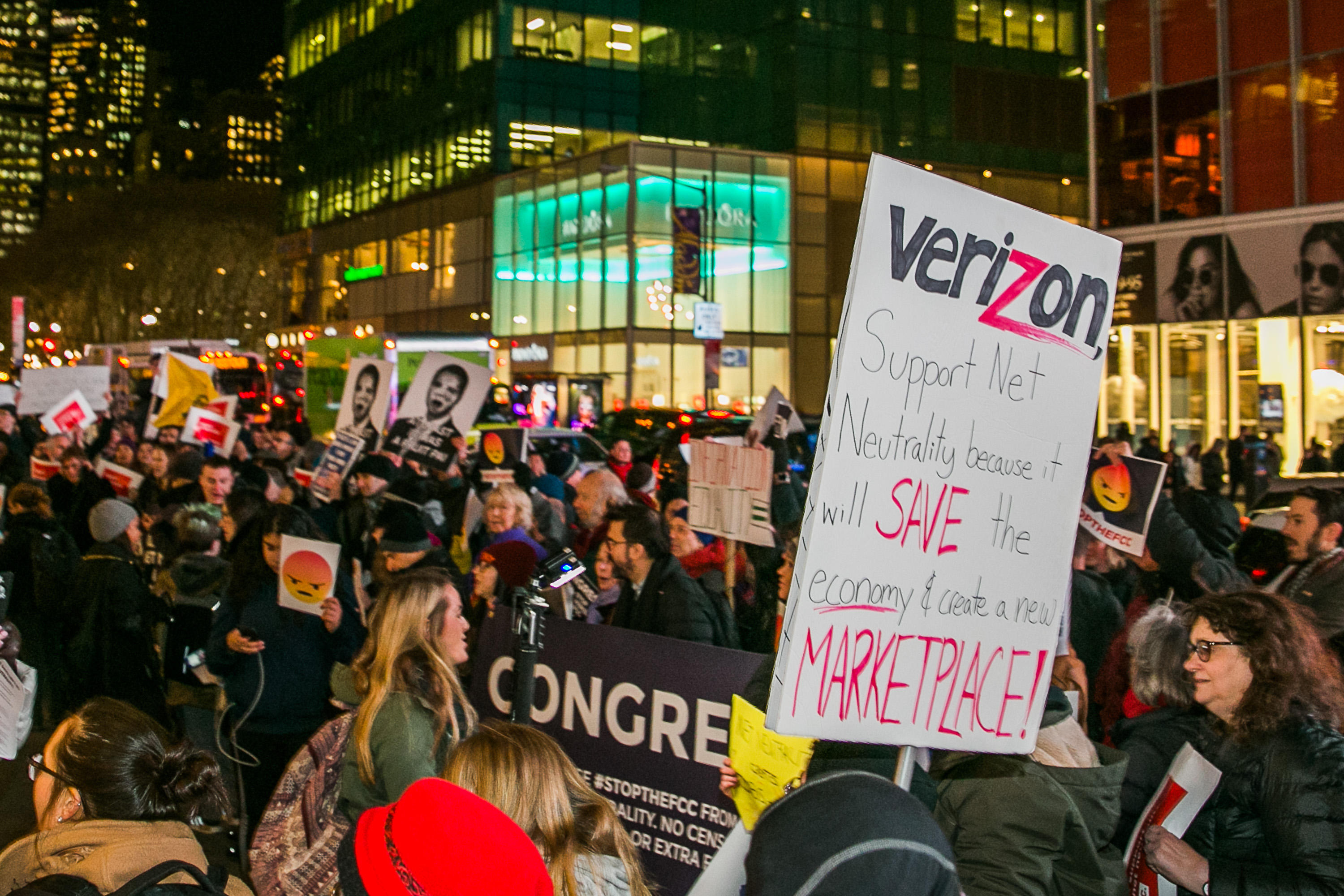 Net neutrality protest at a Verizon store in New York City.
