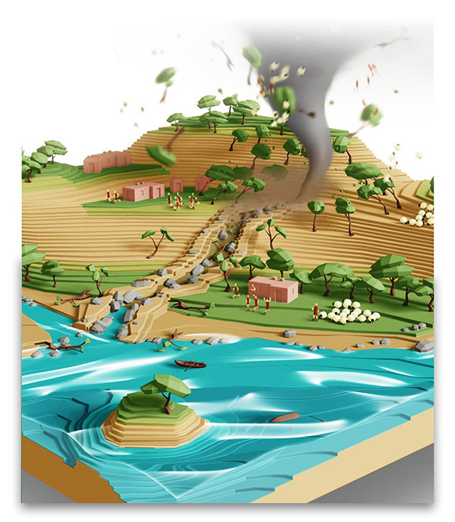 A mockup of the terrain of 22Cans' Godus game due to arrive in September 2013. It's a god game, and players will be able to flick tornadoes across the landscape with a mouse movement or touch-screen swipe.