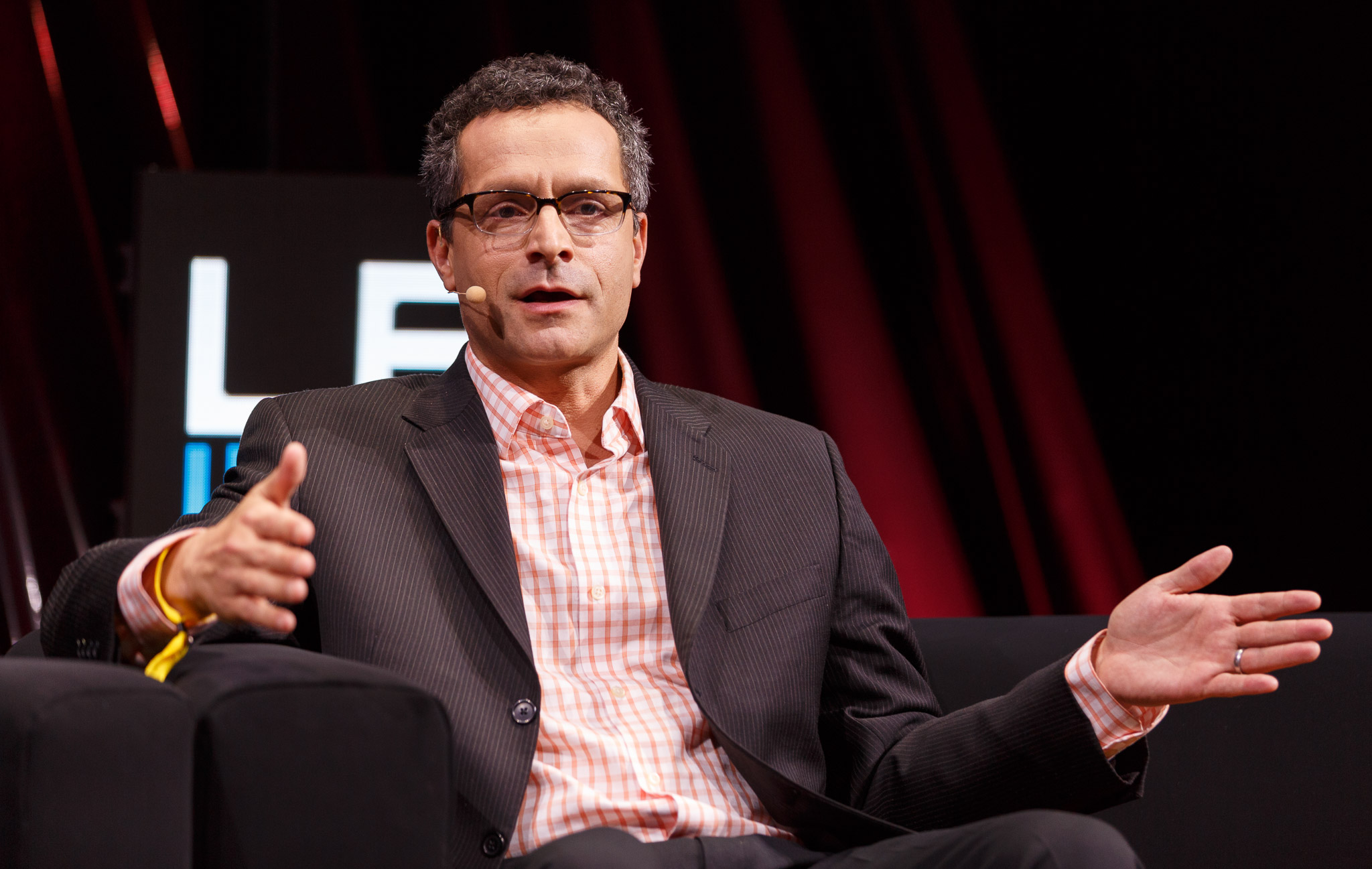 Bradley Horowitz, Google's vice president of product, introduces a new version of the company's Hangouts communication app at the LeWeb conference.