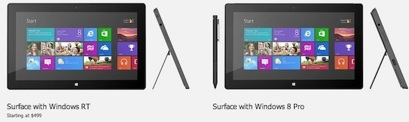Microsoft Surface RT tablet (L) and coming Surface Windows 8 Pro.