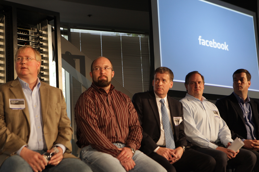 At a panel on data-center development at Facebook today (from left): Lanham Napier, chief executive officer of Rackspace Hosting; Frank Frankovsky, director of hardware design and supply chain at Facebook; Mike Locatis from the Department of Energy; Jason Allen, chief technical officer of Zynga; and Forrest Norrod, vice president and general manager for worldwide server platforms at Dell.