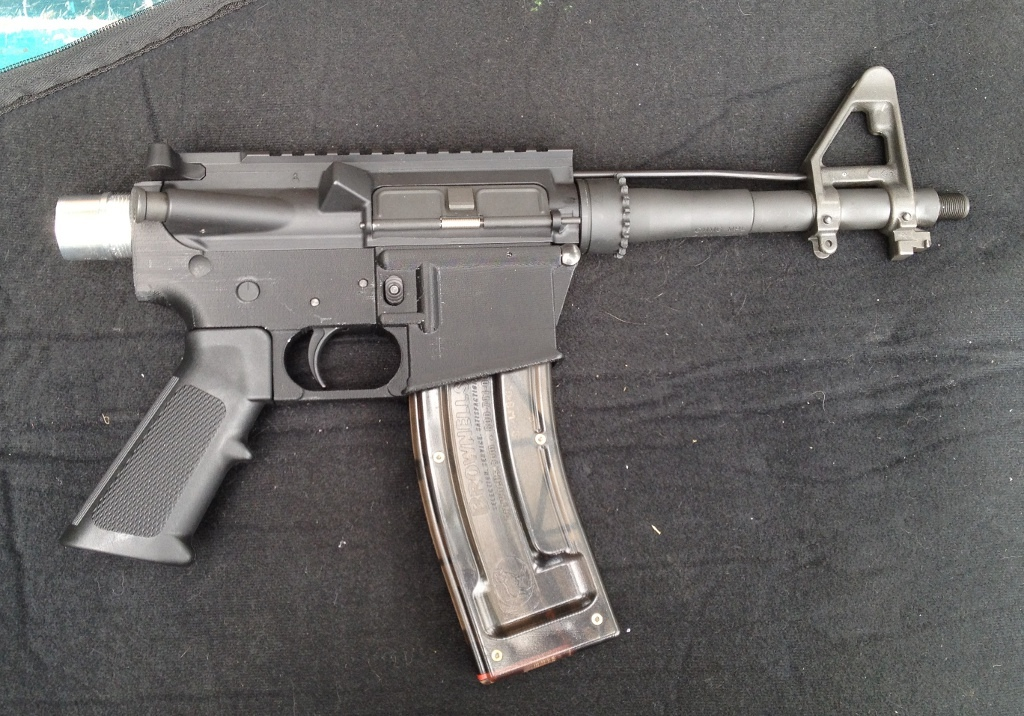 Michael Guslick's homemade pistol, with a plastic, 3D-printed lower receiver designed for an AR 15 hunting rifle.