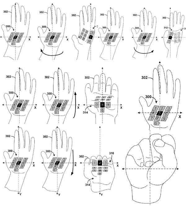 The laser keyboard projected on to the hand, communicating back to the glasses' camera using gestures.