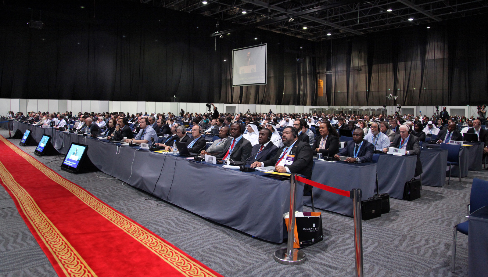 Delegates to the Dubai summit at last Friday's closing ceremonies, after the U.S. and other nations had refused to sign the treaty.
