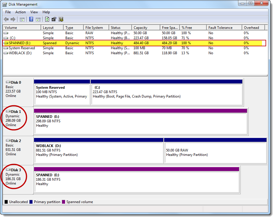 Spanned volume in disk manager