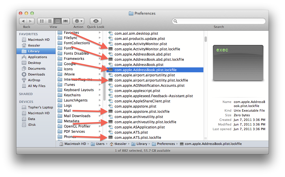 Lockfiles in OS X Lion