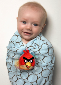 A swaddling blanket from SwaddleDesigns, though not the ones that the company is making that will feature Angry Birds characters.