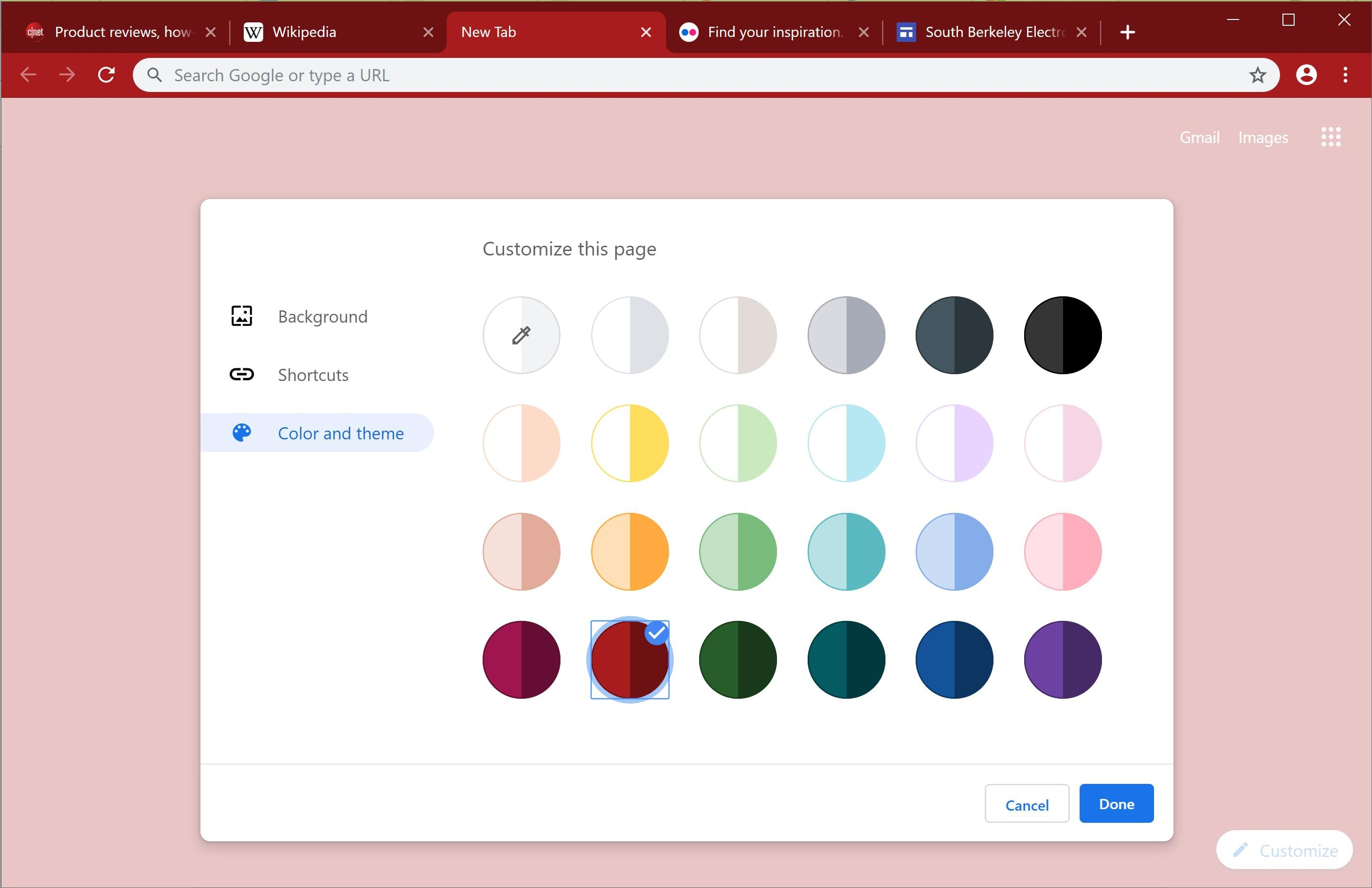 Google lets you pick a Chrome color scheme from the new tab page.