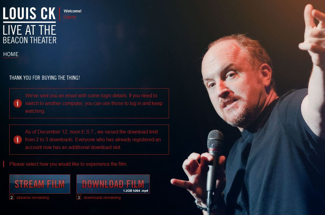 Louis C.K.'s site for purchasing his new comedy video.