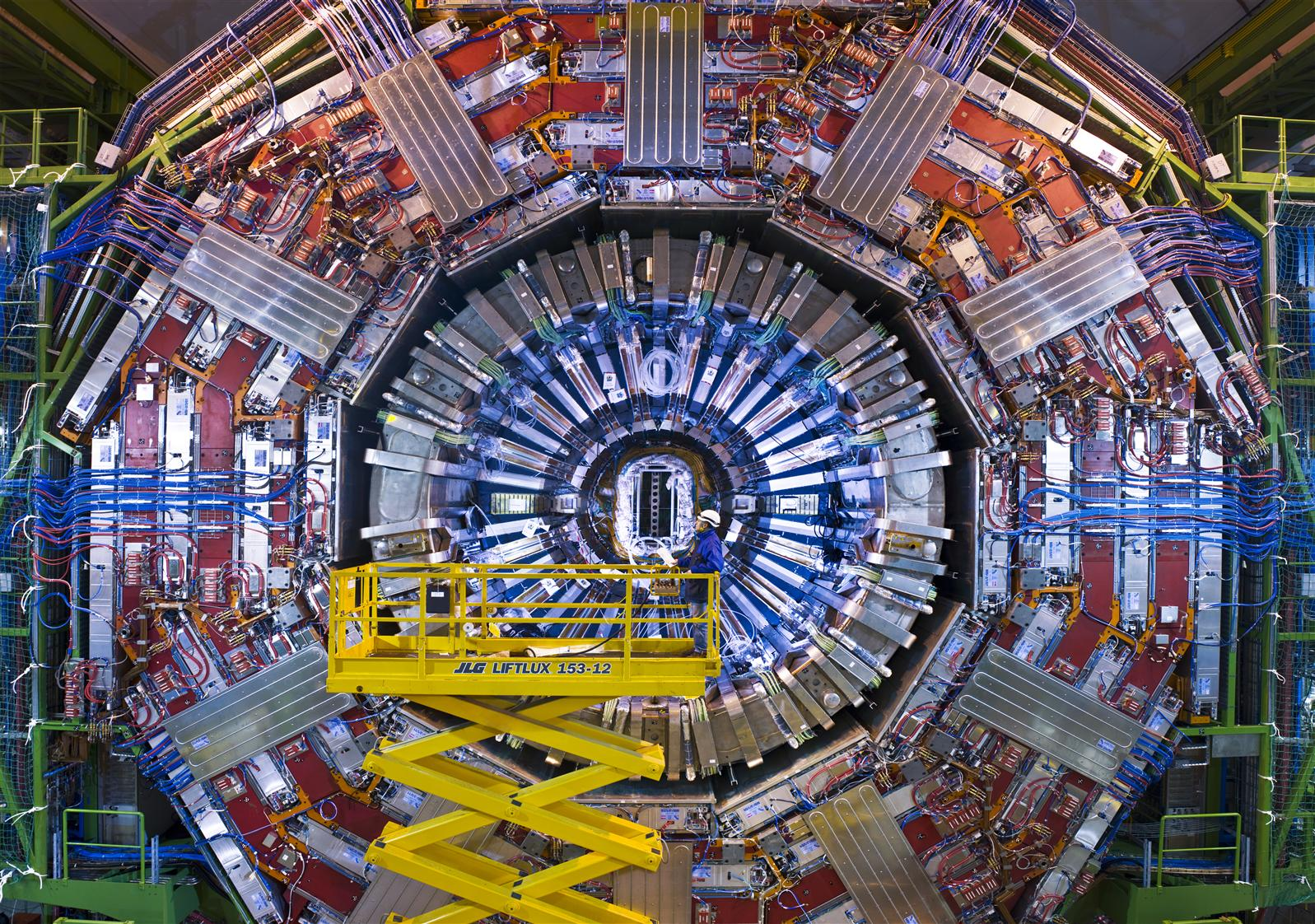 One end of the CMS detector during the LHC's assembly in 2007.