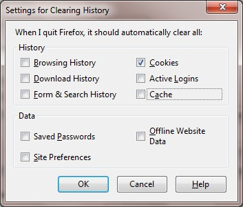 Mozilla Firefox Settings for Clearning History dialog box