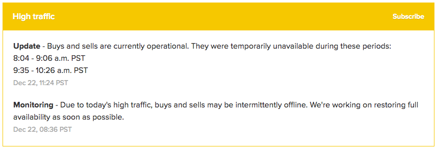 Coinbase site outage
