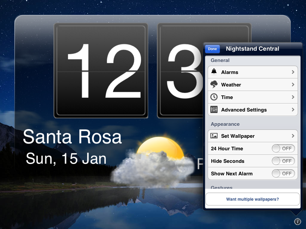 Nightstand Central alarm-clock app for the iPad