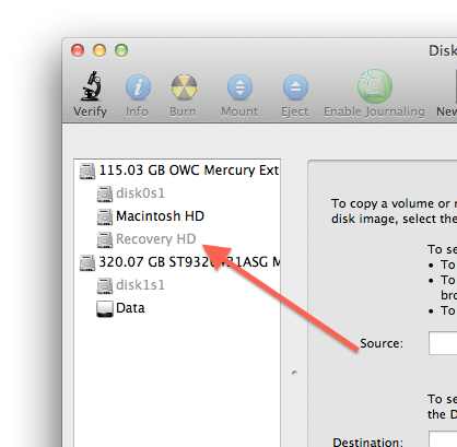 Recovery partition in Disk Utility