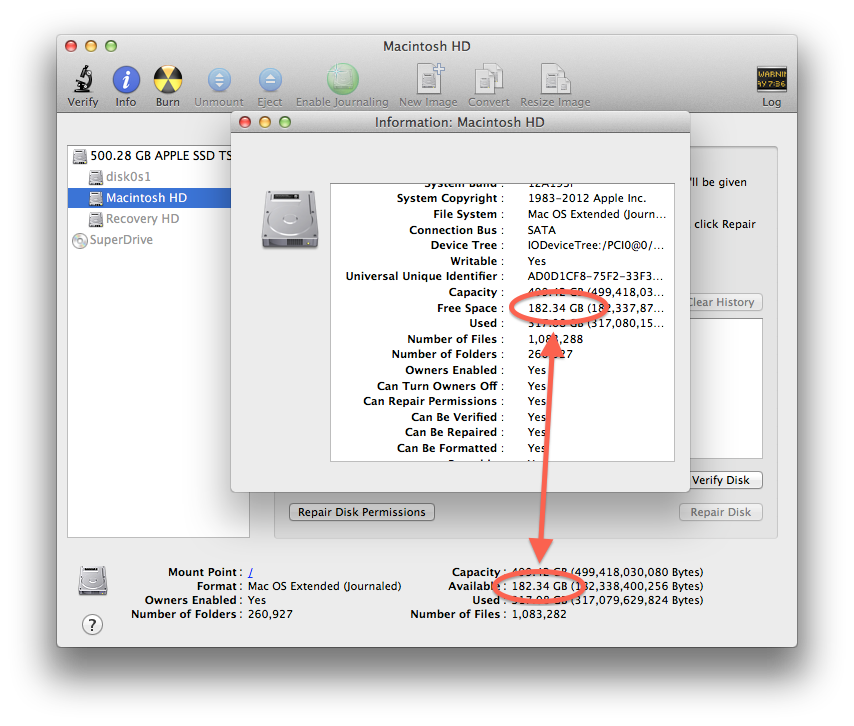 Disk Utility disk space available calculation
