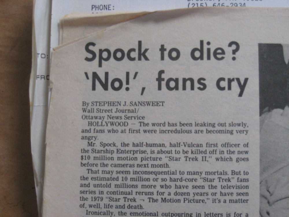 Uproar over Spock's death