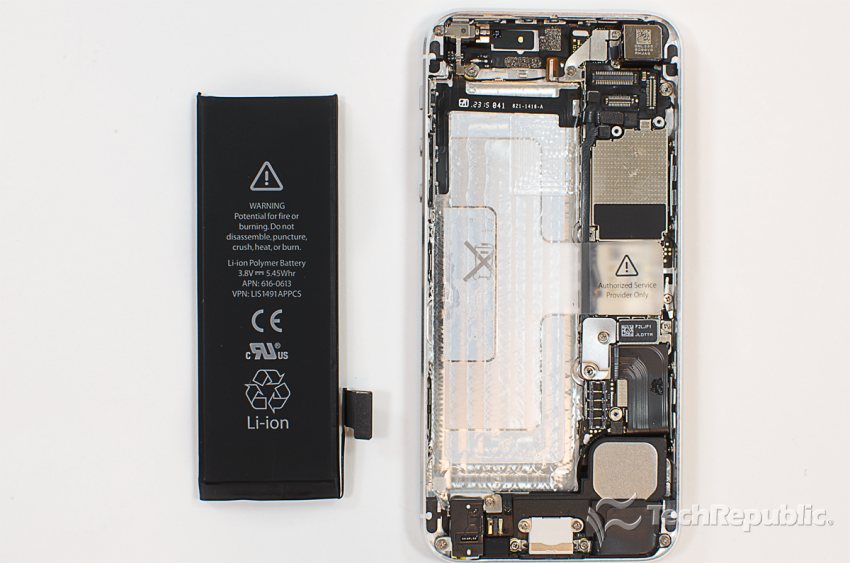 The iPhone 5's battery is slightly larger than the one in the iPhone 4S, but not much more powerful.