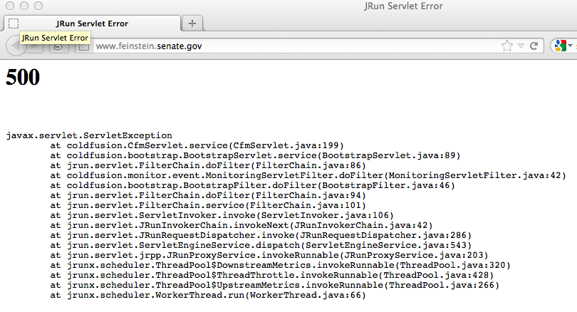 Protect IP sponsor Dianne Feinstein's Web site was overwhelmed by visits.
