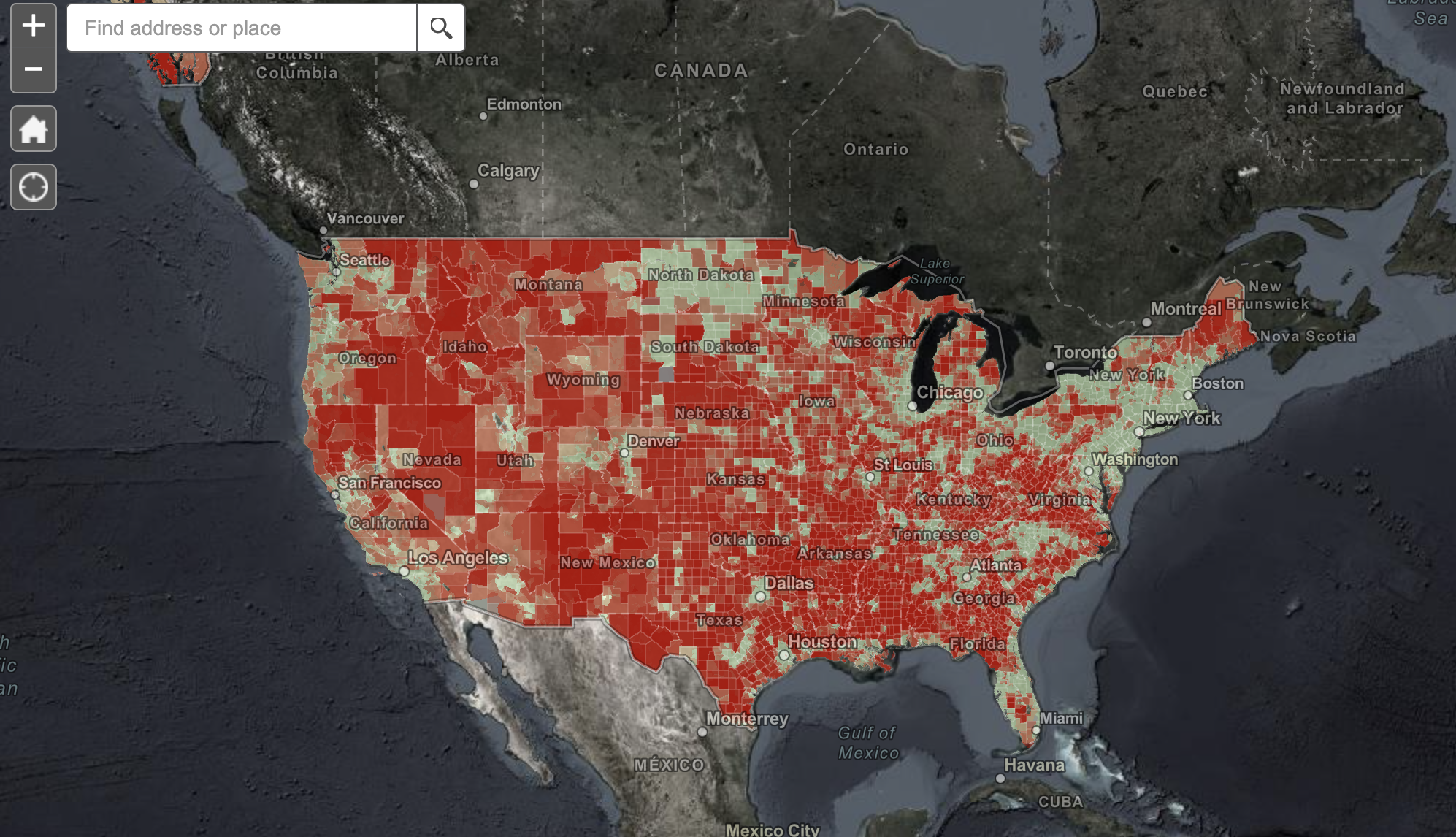 NTIA map of broadband access in the US