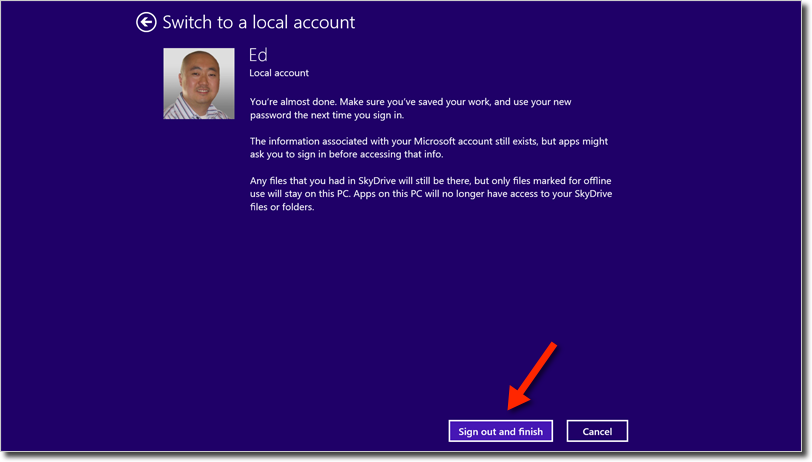Windows 8.1 switch to local account