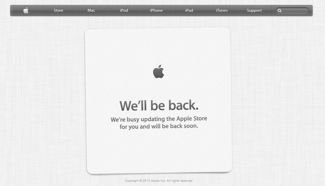 Apple Store be right back