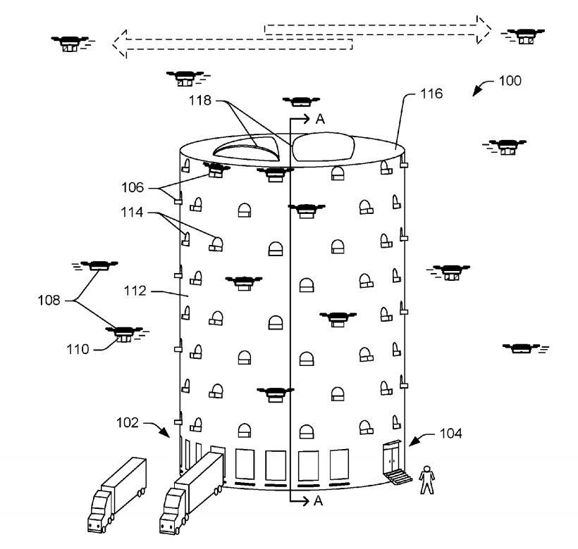 Amazon patent application for drone tower