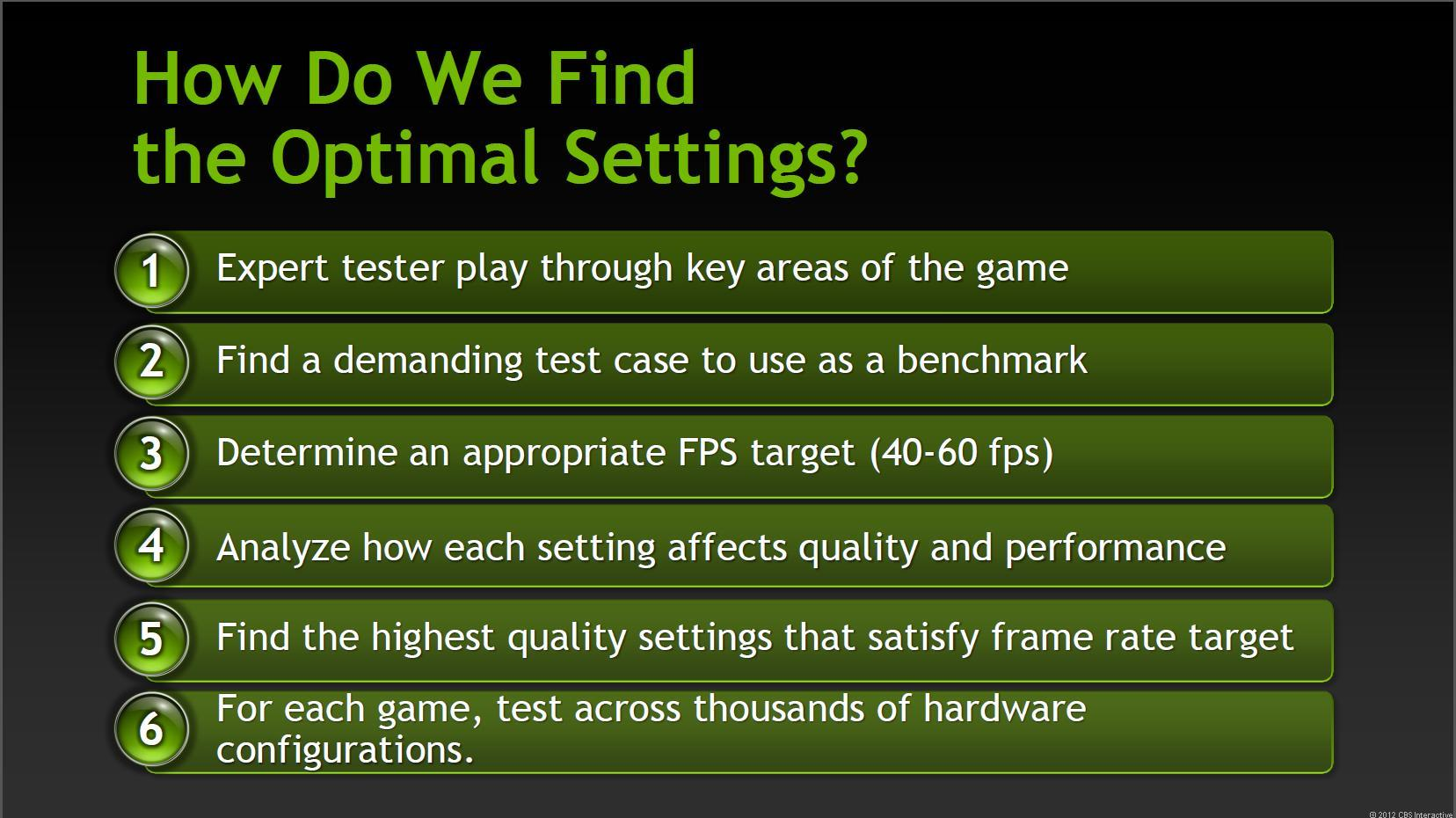 Nvidia describes its process for determining the best game settings for a given hardware configuration.