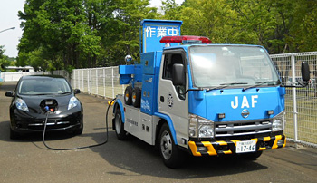 JAF's prototype mobile charging station for electric vehicles.