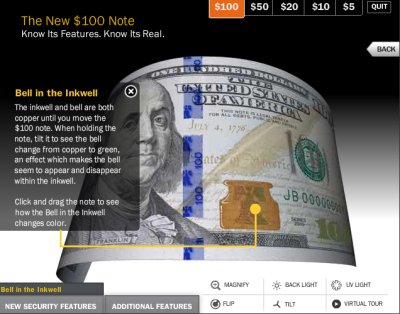 Flash is good at handling things like this view of a U.S. Treasury Department swoopy animated tour of the new $100 bill design. iPad and iPhone users won't be able to view or interact with it. But it requires a plug-in that can sap a CPU's power and is blamed for many browser crashes.