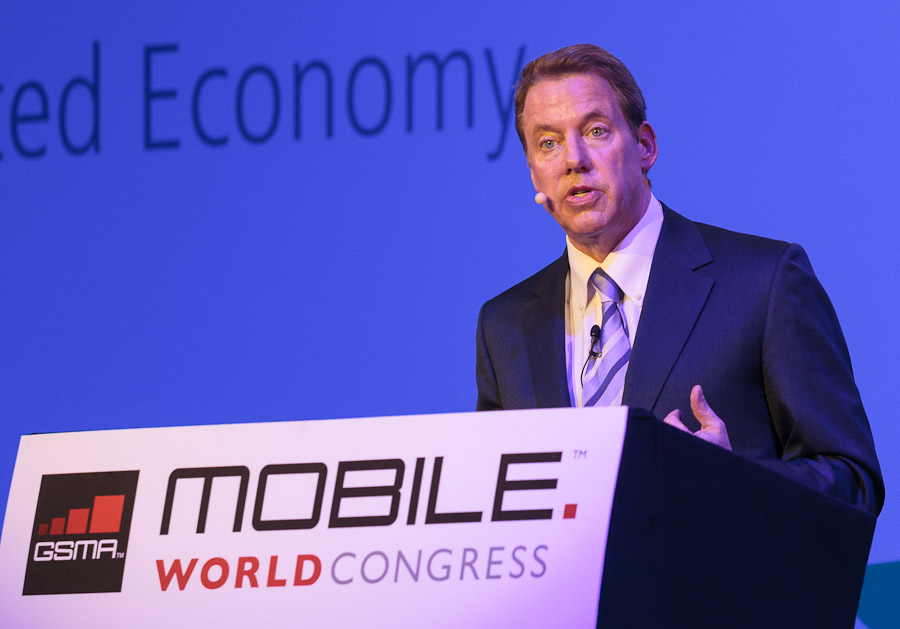 Ford Motor Company executive chairman Bill Ford speaking at the Mobile World Congress mobile-technology show in Barcelona, Spain.