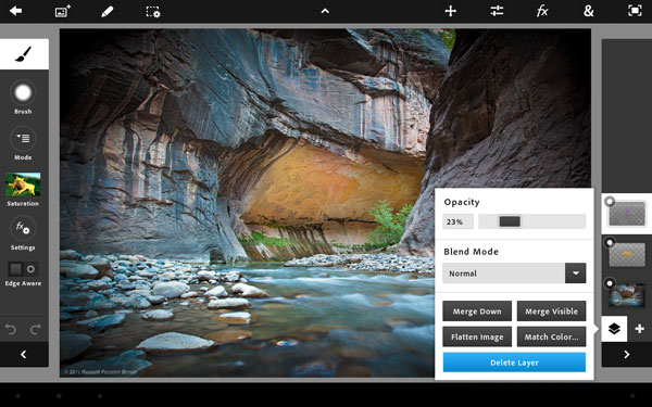 Adobe Photoshop Touch for Android tablets