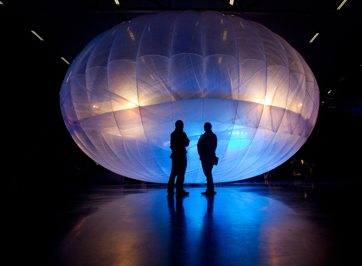 A Project Loon balloon on display in New Zealand in 2013.