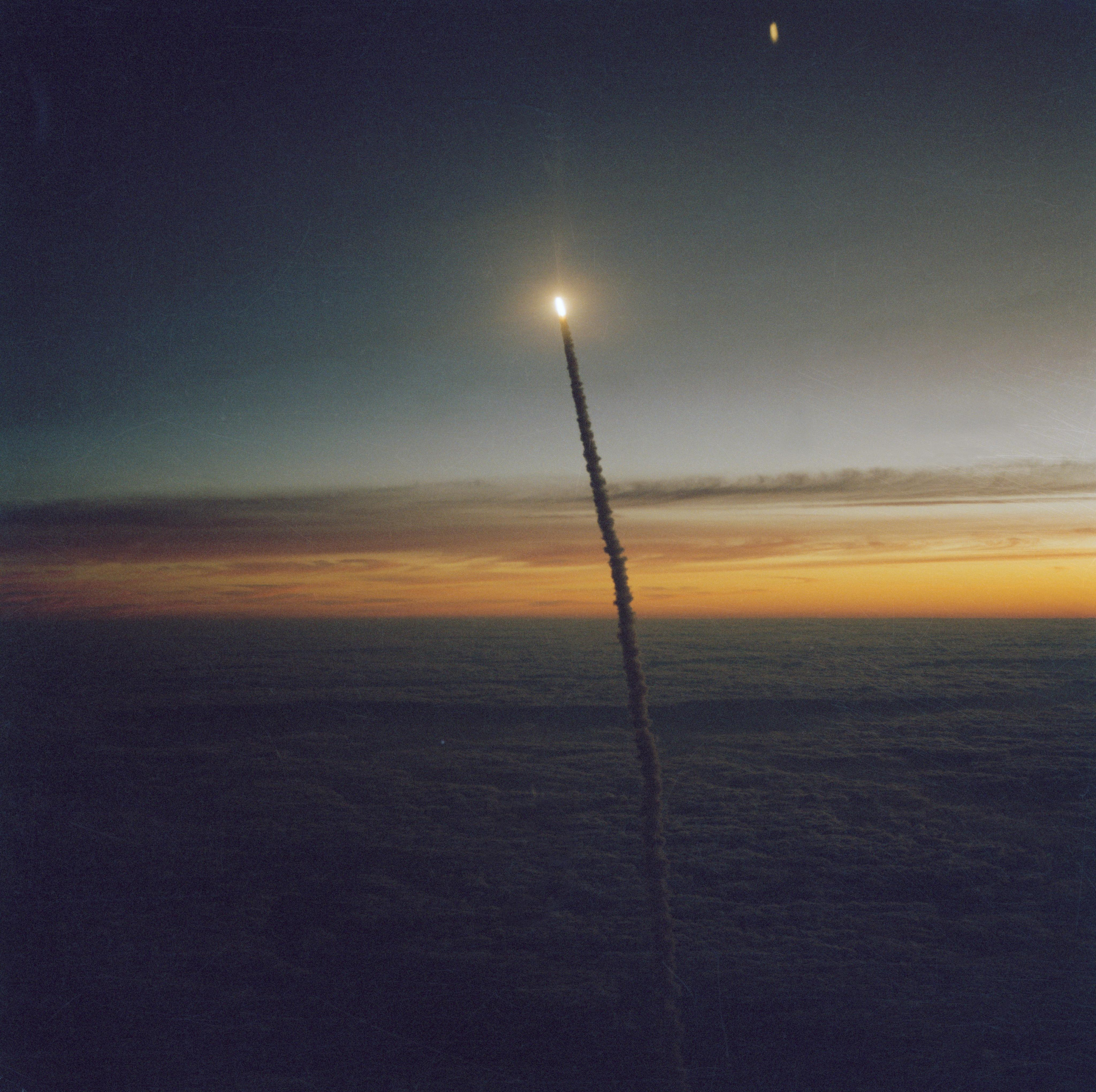 NASA's Challenger space shuttle lifts off on mission STS-41G.