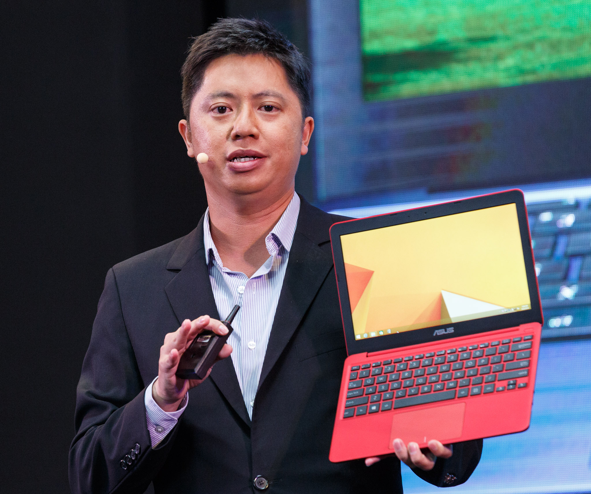 Asus Senior Product Director Derek Yu debuts the EeeBook X205, a new entry into the old Netbook market, at IFA in Berlin.