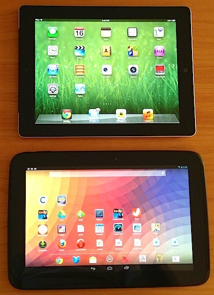 My iPad 4 (top) and Nexus 10: I can use them interchangeably.