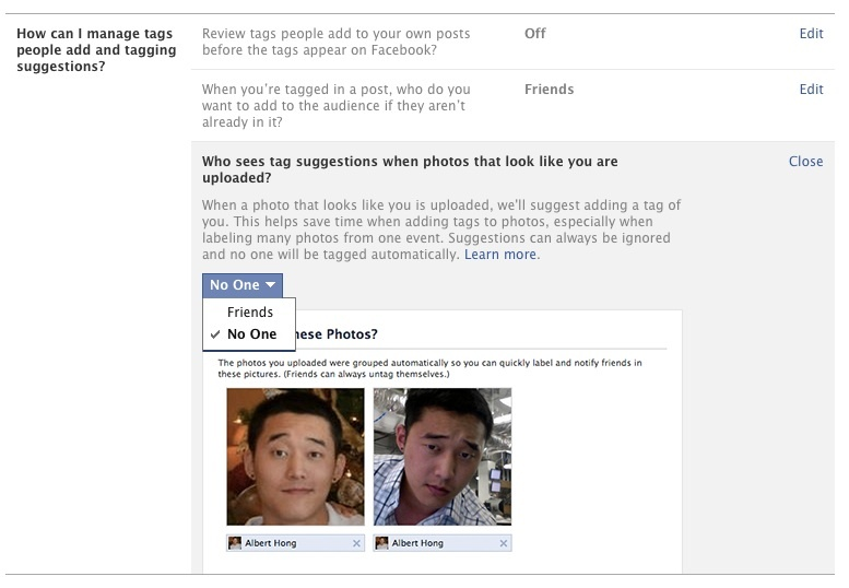 Facebook Tagging and Timeline Settings for facial recognition
