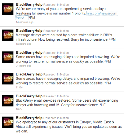 RIM tweets about BlackBerry outages.