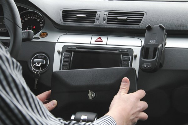 Volkswagen allows European owners to literally lock down their in-dash navigation units.