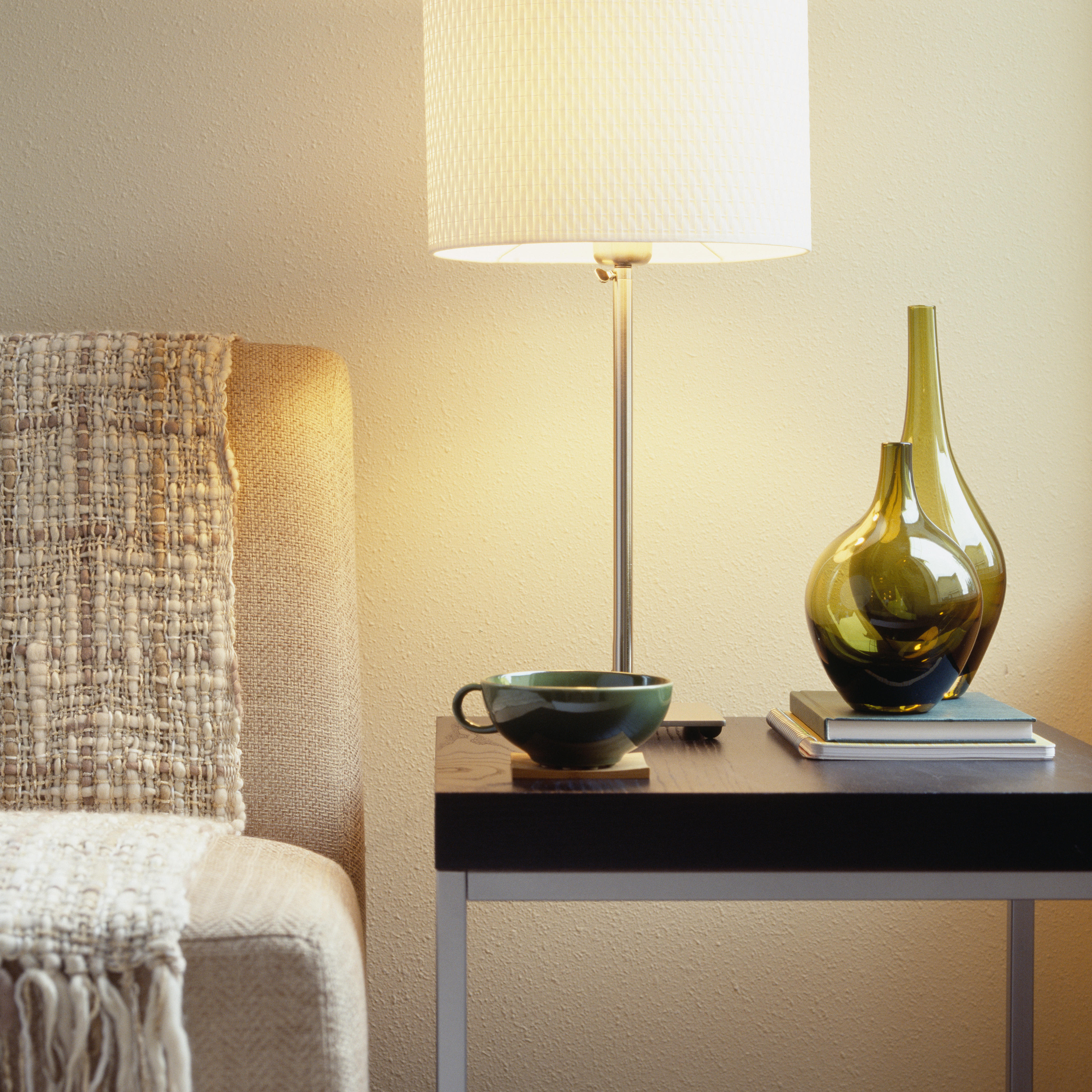 Lamp on table in living room