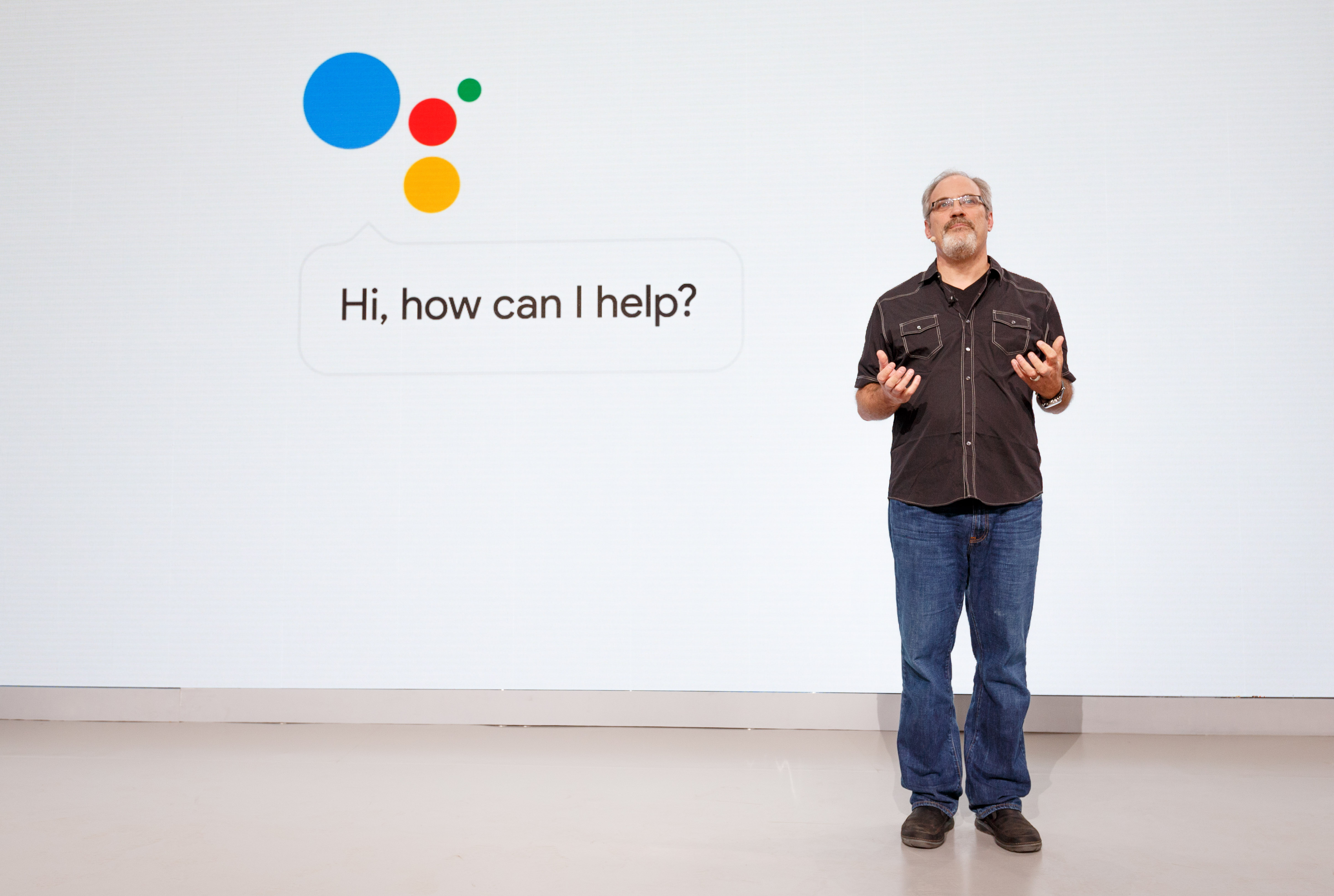 Scott Huffman, leader of Google Assistant engineering, talks about the AI technology at the Google Pixel launch event.