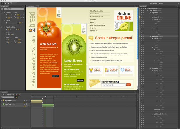 A look at the Adobe Edge interface.