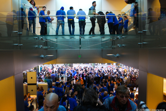 Apple's retail stores had 110 million visitors during the quarter, up 45 percent from last year.